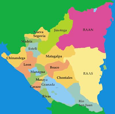 nicaragua mapa Mapa Nicaragua Nicaragua Online   Guía de Viajes de Nicaragua nicaragua mapa